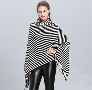 Womens Ponchos Shawls Capes Irregular Hem Fringed Striped Cowl Neck Pullover Sweater Knitted Wrap Coats Tops