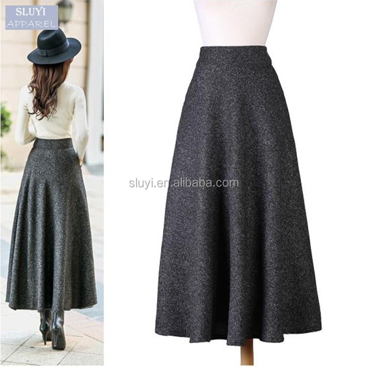 Oto o invierno falda de lana larga ltimo dise o de falda for Disenos de faldas