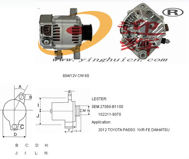 Tremendous 27060 B1100 102211 6070 80A 12V Cw 6S Alternator For 2012 Toyota Wiring Cloud Hisonuggs Outletorg