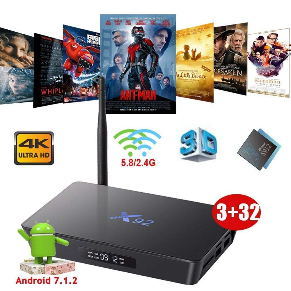 Mocei X92 3GB+32GB Octa Core Android 7.1.2 Nougat Smart TV Box 4K Movies Dual WiFi 3D