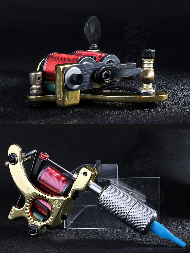 Yilong Wholesale Professional  Imitating Sunshine Coil Machine 10 Wrap steel Iron Core Machine Alloy Coil Tattoo Machine
