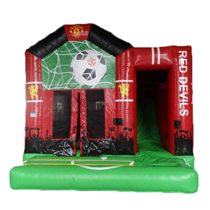 Commercial red devils soccer football team theme inflatable castle dry combo