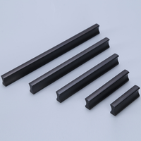 One-piece-shaped Black Aluminum Alloy Small Furniture Drawer Handle