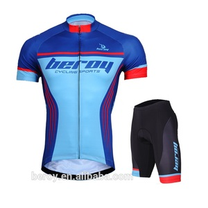 Sublimation printing cycling garment sets with gel pad,short sleeve biking clothes for men
