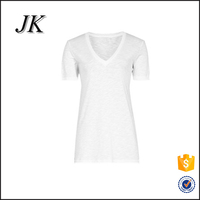 100% cotton wholesale blank high quality plain white v-neck t shirts for women
