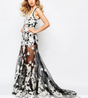 Luxe Embellished Floral Applique Maxi Dress With Red Carpert Train