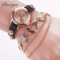 Duoya Brand Watches Leather Strap Braided Bracelet Ladies fancy Wrist small Watch