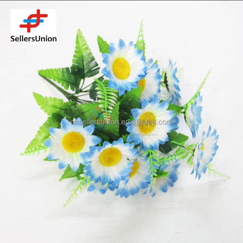 No.1 yiwu exporting 12 Pieces commisssion agent wanted artificial flower blue sunflower bouquet