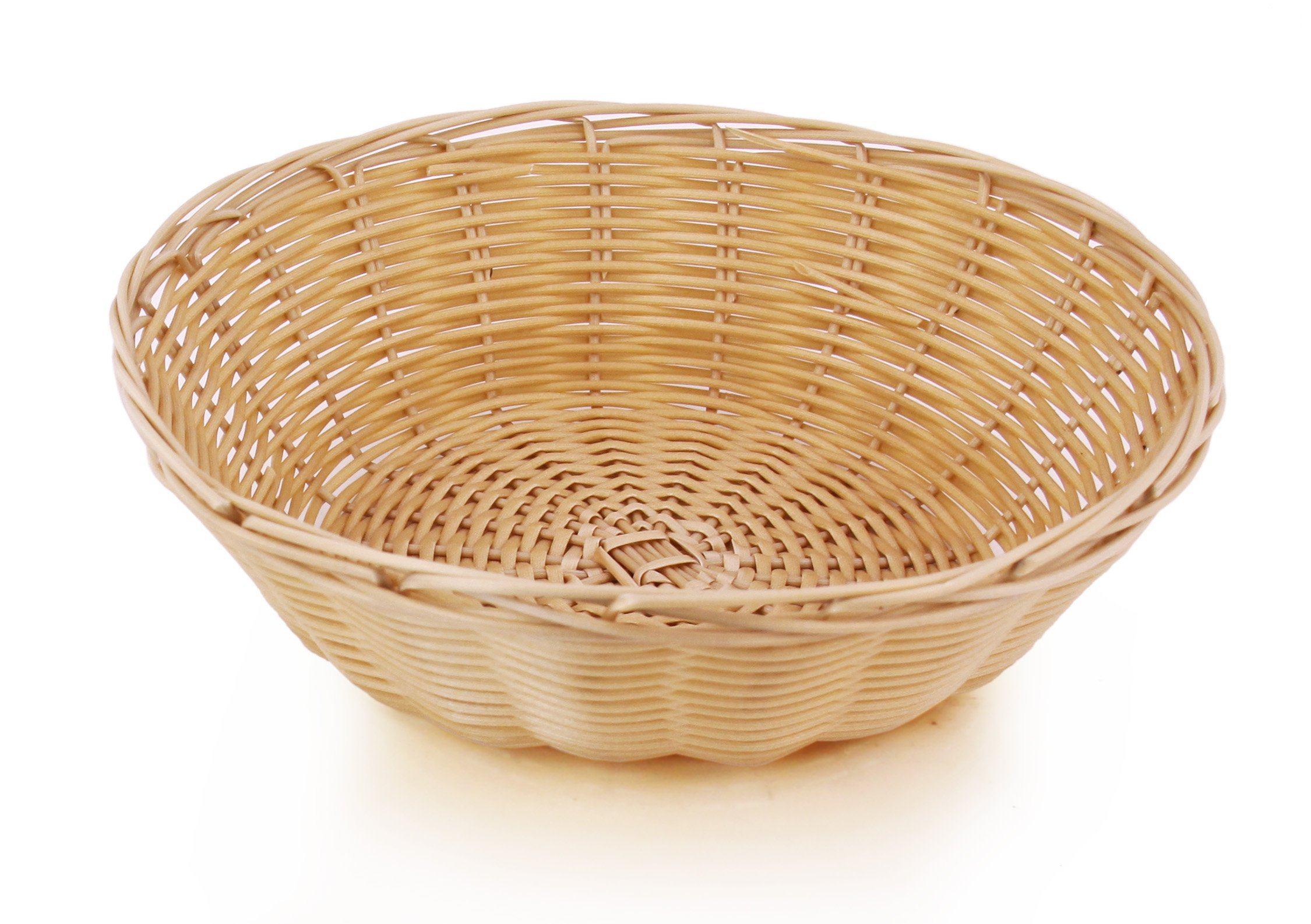 New Star Foodservice 44201 Food Serving Baskets 9 x 2.75 inch Round, Hand Woven, Polypropylene, Set of 12, Natural