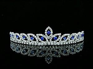 Peacock Eye Bridal Wedding Prom Tiara Crown - Blue crystal silver plated T421 by Venus Jewelry