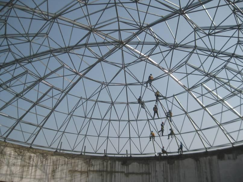 Windproof Lightweight Steel Space Frame Prefab Dome House