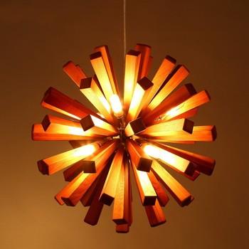 Retro Pendant Light Library Chandelier Round Wooden Lighting