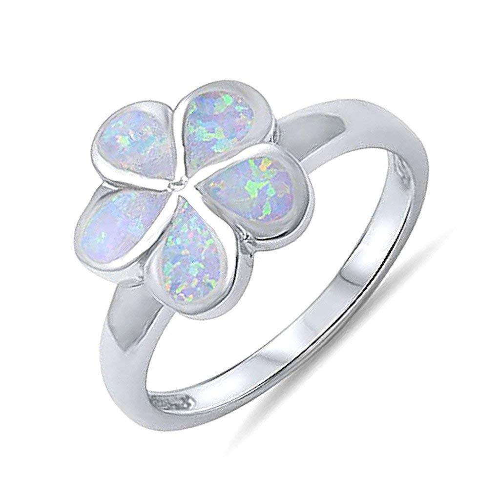 .925 Sterling Silver Lab Created Opal Plumeria Flower Promise Anniversary Ring Band Sizes 5-10