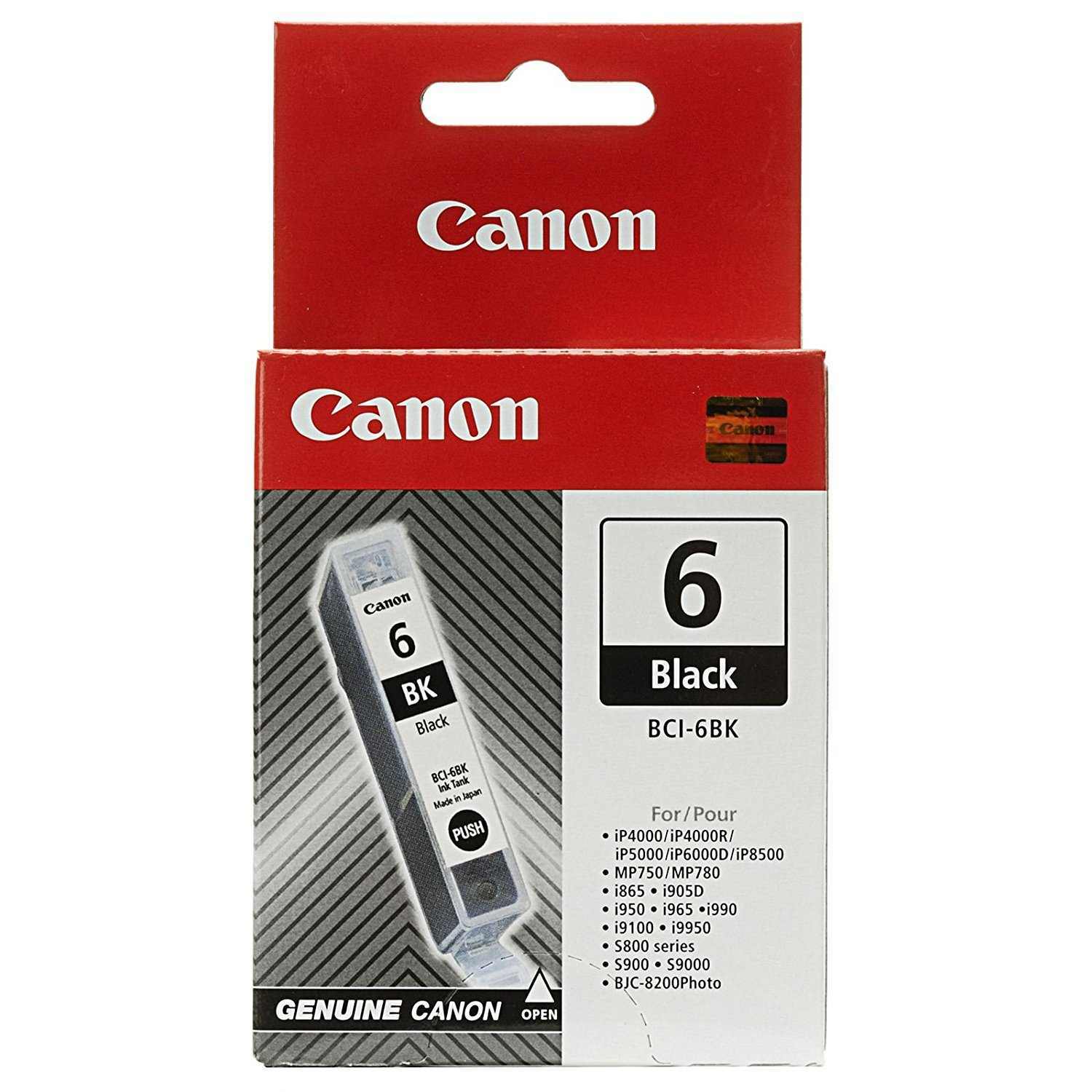 Canon BCI-6 (4705A003) Black Ink Cartridge for iP4000/iP4000R/iP5000/iP6000D/iP8500, MP750/MP780, i865, i905D, i950, i965, i990, i9100, i9950, S800 series, S900, S9000, BJC-8200Photo