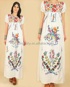2016 new design the mexican embroidered long dress wholesales