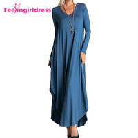 Wholesale Plus Size Women Blank Autumn Long Sleeve Casual Maxi Dress