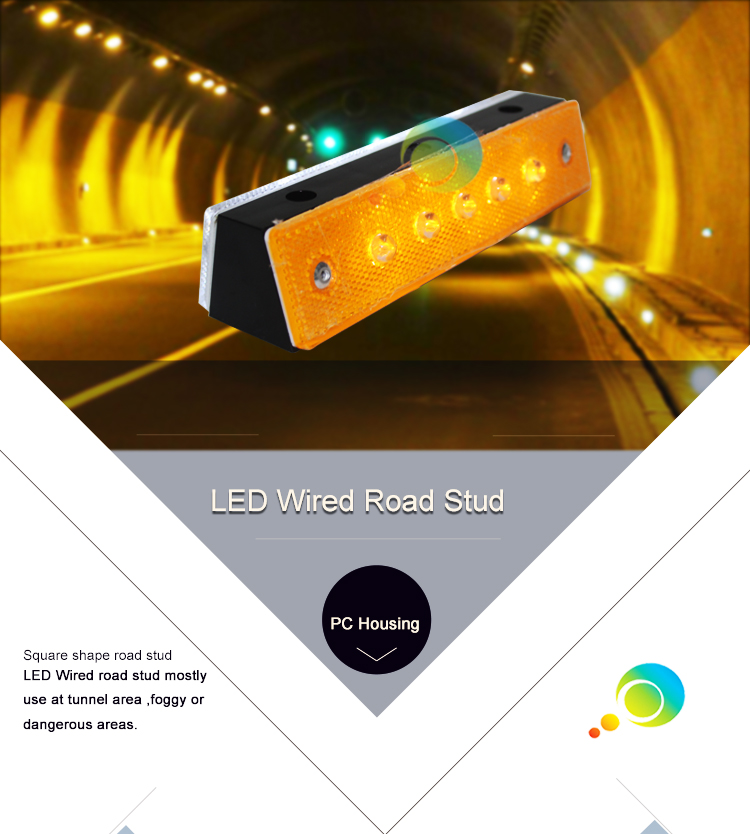 10 years factory Road Safety PC LED Flashing Wired Road Stud