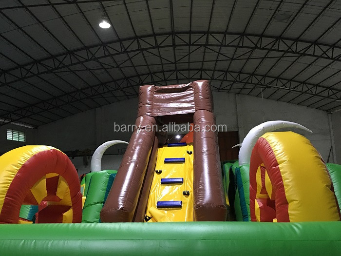 2017 funny inflatable dinosaur park , cheap inflatable dinosaur slide obstacle course