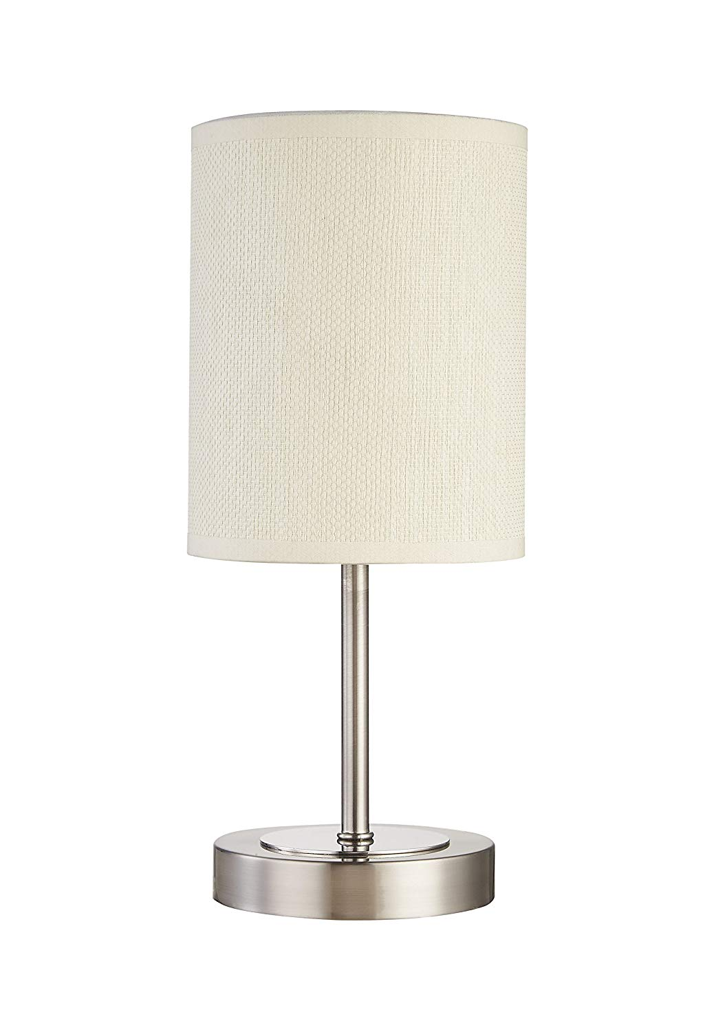 Table Lamp, DILI HOME Sand Nickel Mini Basic Table Lamp with Paper Fabric Shade and Stylish Metal Base Soft Light Lamps for Gifts, Office, Living Room.