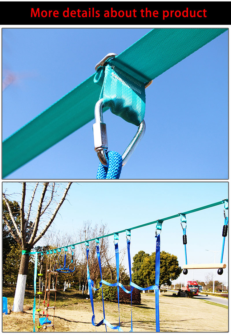 Backyard slackline swing hanging obstacle course with monkey fist, wood bar, gymnastic rings