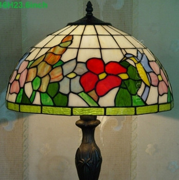 Home Decoration Lamp 16 Inch Tiffany Stained Glass Table Lamps Bird