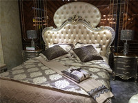 Silver wood carved frame Nature leather buttoned designs bed room furniture wood double bed classic bedroom set