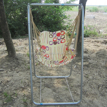 Parachute Canvas Fabric Swing Chair With Galvanized Steel Pipe Support  Stand,CZ 11 Garden