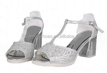 f885121382d 2015 Lady beautiful silver diamond summer sandals kitten thick heel sandals  for girls