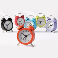 Metal Colorful Cute Twin bell Small Analog Mini Cheap Table Alarm Clock For Bed
