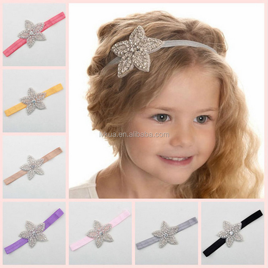 Children Baby Girls Rhinestone Flower Star Headband Hair Bands for Wedding Party Hair Accessories Princess Headwear