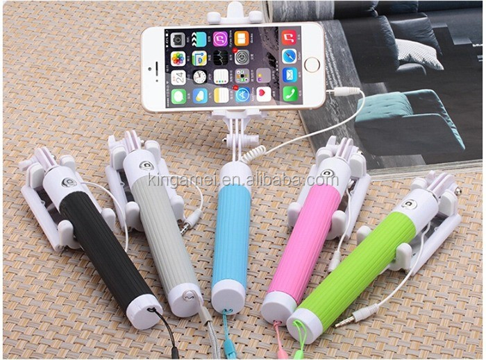mini charge-free selfie monopod with cable for travel, Mini Wired selfie monopod