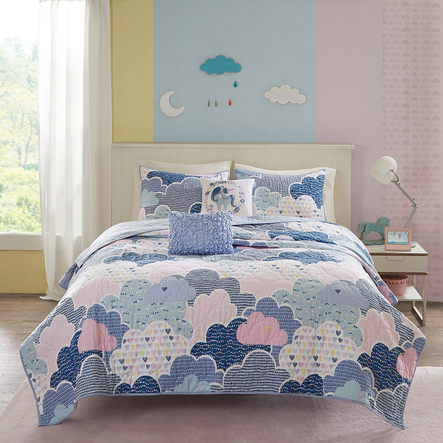 D&H 4 Piece Girls Grey Purple Pink Fluffy Cloud Coverlet Twin Twin Xl Set, Multi
