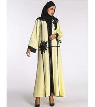flower design lace splicing casual muslim open abaya
