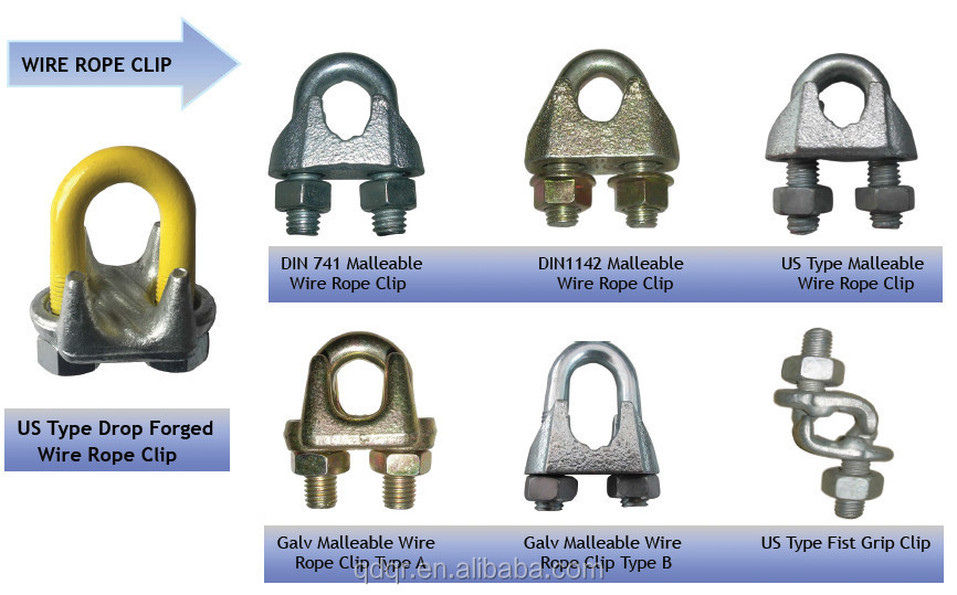 Steel cable connectors drop forged wire rope gripper grip