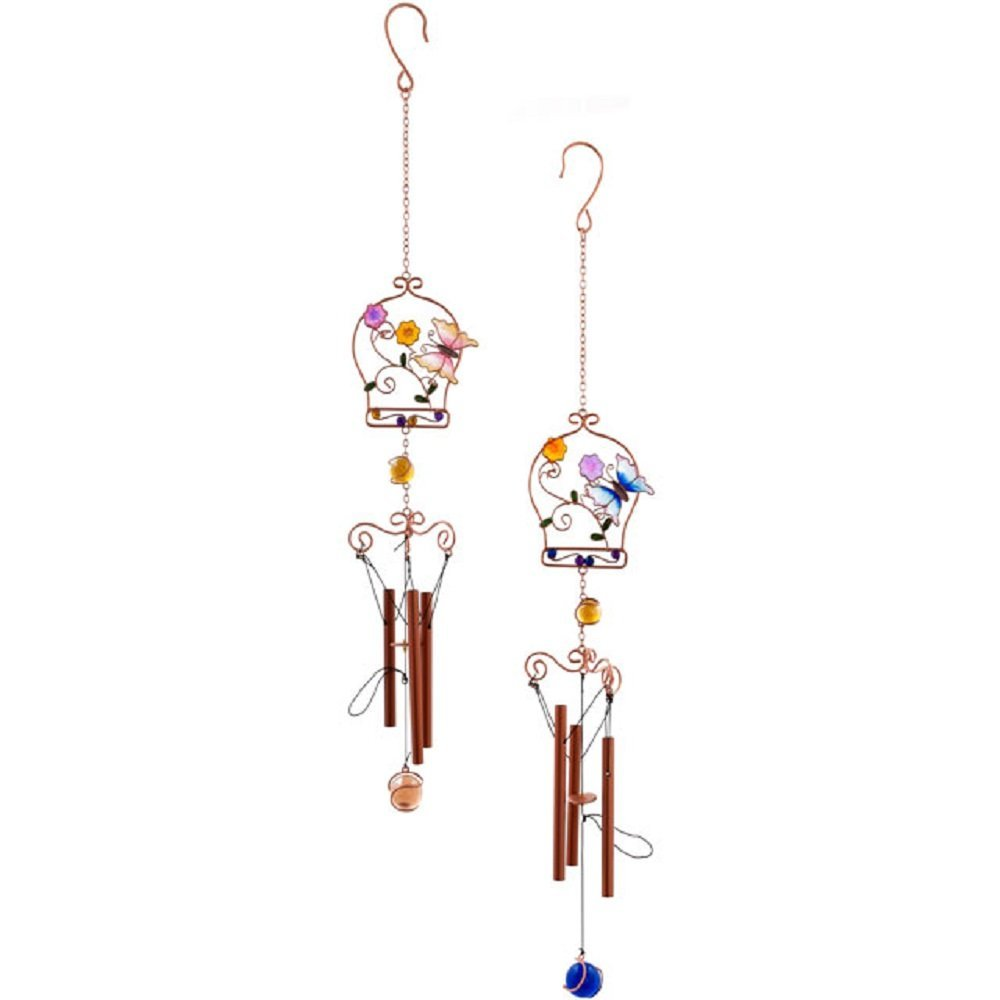 Beautiful Butterfly & Flower Design Glass, Metal and Resin Wind Chime - Home and Garden Ornament (Pink Butterfly A) (Pink Butterfly A)