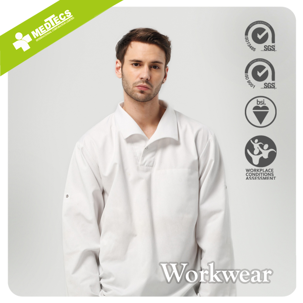 White Polyester Cotton Static control Work Shirt