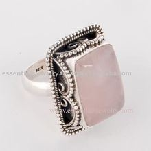 Designer silver Rose Quartz rings
