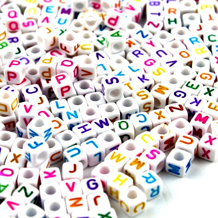 Alphabet Brief Acryl Perlen 6mm Handwerk Cube Perlen für Schmuck Kinder Party