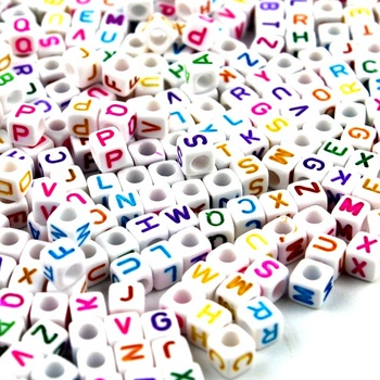 Alphabet Letter Acrylic Beads 6mm Crafts Cube Beading for Jewellery Children Party