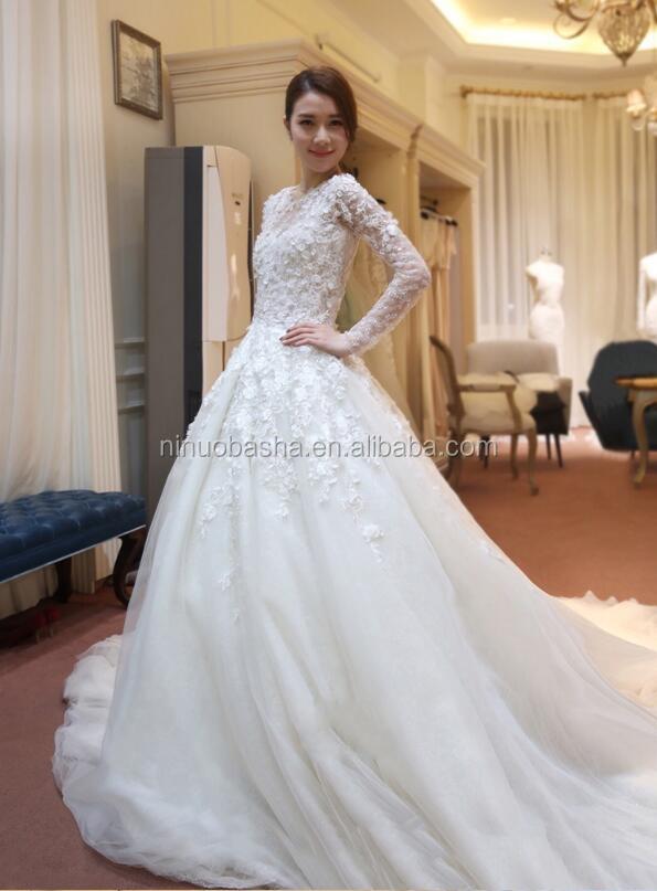 NW1128 Langen Ärmeln 3D Blume Spitze Hochzeitskleid mit Rundhals ...