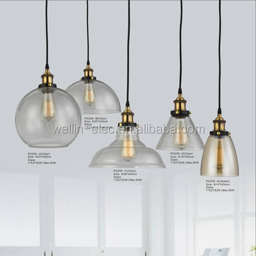 Wholesale 20th C. Vintage Fixtures Factory Filament Clear Glass Dome Pendant Collection Industrial <strong>Lighting</strong>
