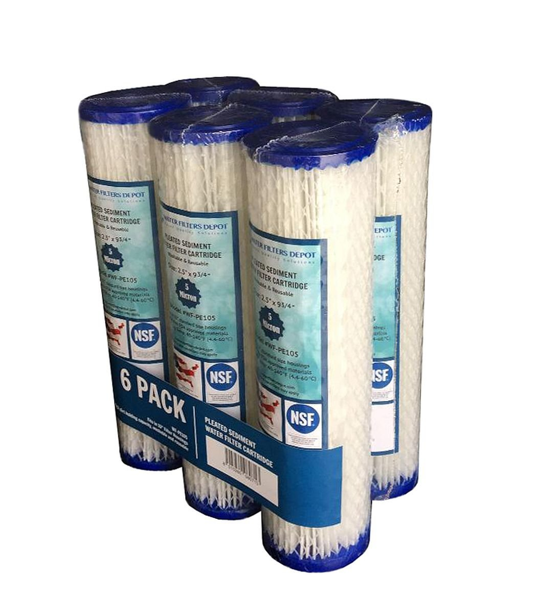 WF-SP201 2.5x20 1 Micron Sediment Water Filter Cartridge Spun Polypropylene WFD Fits in 20 Standard Size Housings of Filtration Systems 2 Pack