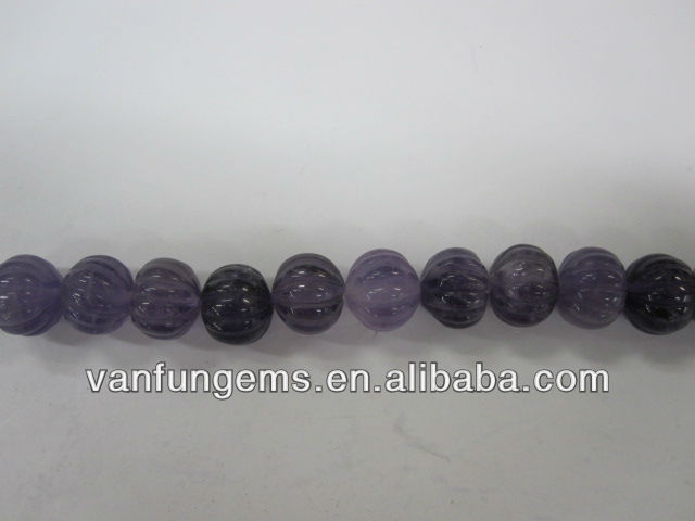 Gemstone natural amethyst carved plumkin beads