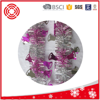 Machine Cut 2Meters Foil Christmas Tinsel Garland For Decoration, Pink/silver