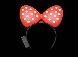 Party Costume Accessory Christmas Party Light Up Minnie Mouse Flashing LED Polka Dots Spots Bow Hairband Ribbon Headband Event Costume