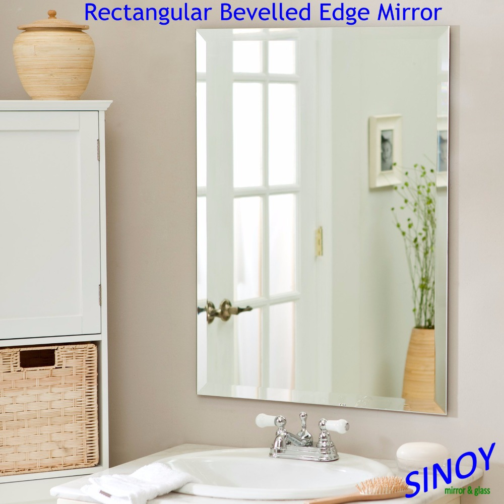 Float Glass Double Coated Waterproof Frameless Bathroom Mirror With  Polished Edge In Different Shapes
