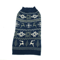 2019 new design wholesale factory cheap price blue printing snow flakes deer apparel warm clothing for dog fleece sweater
