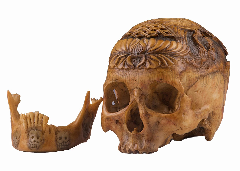 Fine Handmade Resin Replica 1:1 Kapala Carved Human Skull Tibetan Buddhism Fish Tai Chi OD72