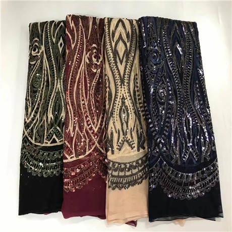 AQ3012#1 Wholesale New design net lace fabric with beads Voile African Lace Fabric