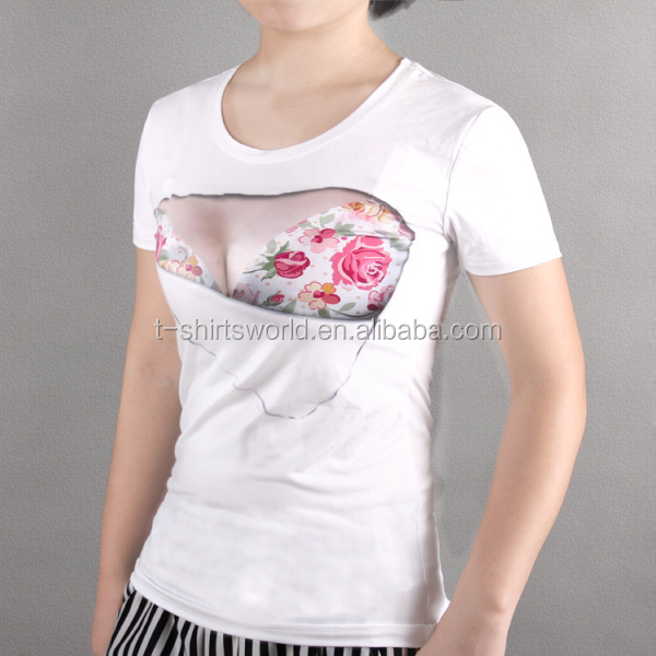 Custom Girls Printed T Shirts Funny Design Cotton Bra Shirt - Buy ...